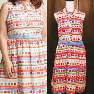 MODCLOTH Flowers Cherries & Stripes Shirt Dress